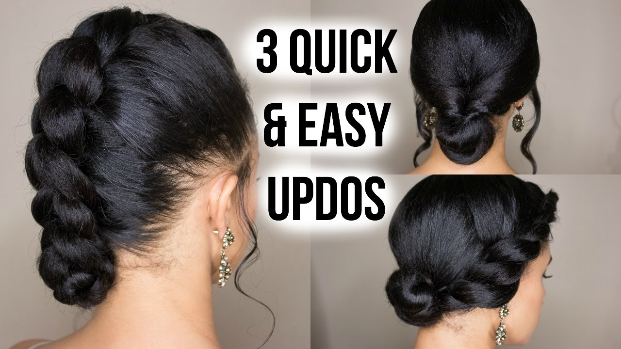 3 Quick Easy Updo Hairstyles On Straightened Natural Hair Video