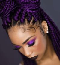 purple hair on black women braids yass purple box braids ...