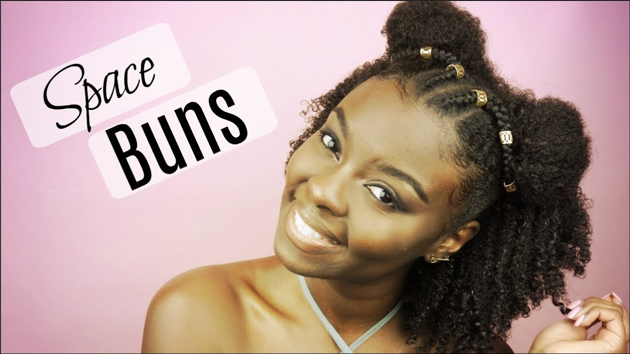 Natural Hairstyle Half Up Half Down Space Buns Video Black