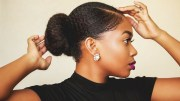 sleek realistic faux bun thick