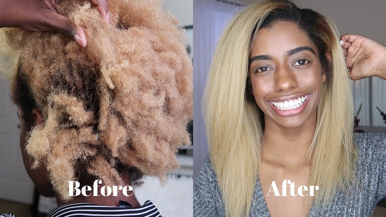 How To Flat Iron 4c Hair Silky Straight Video Black