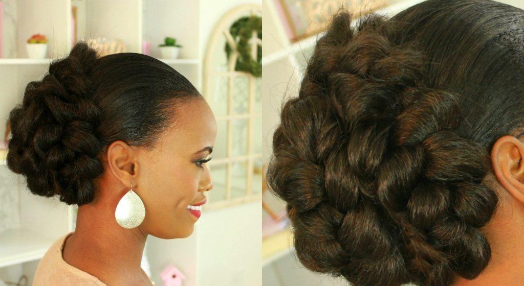 Easy Natural Hair Protective Style Braided Hair Bun Black Hair