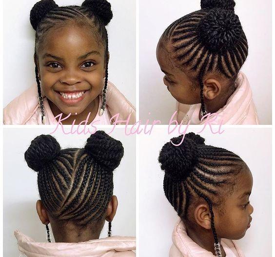 Cornrow Double Buns Black Hair Tribe