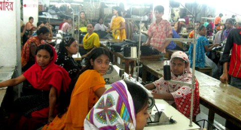 Women in Bangladesh work in a crowded factory