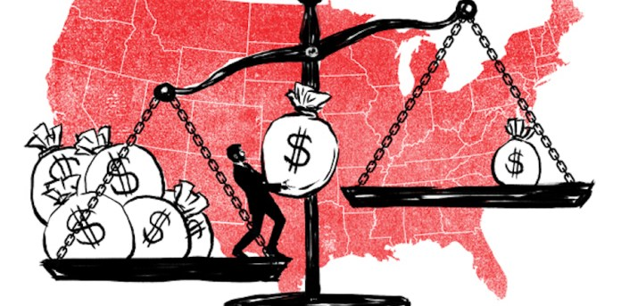 A cartoon of a scale with the backdrop of the USA with the states in red. On the left side of the scale are five money bags and a man lifting a sixth bag to the right of the scale, which only has one money bag. The left scale is heavier than the right.