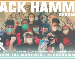 black hammer with comrades holding their fists up