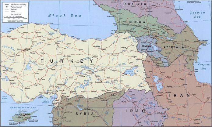 Map of armenia and its neighbors