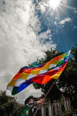 man waving wiphala flag