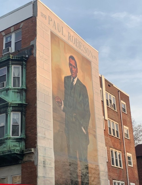 mural of paul robeson on building side in philadelphia