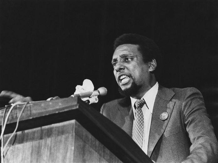 Trinidad-born American black activist Stokely Carmichael (1941 - 1998, later Kwame Ture) giving a speech, circa 1974.