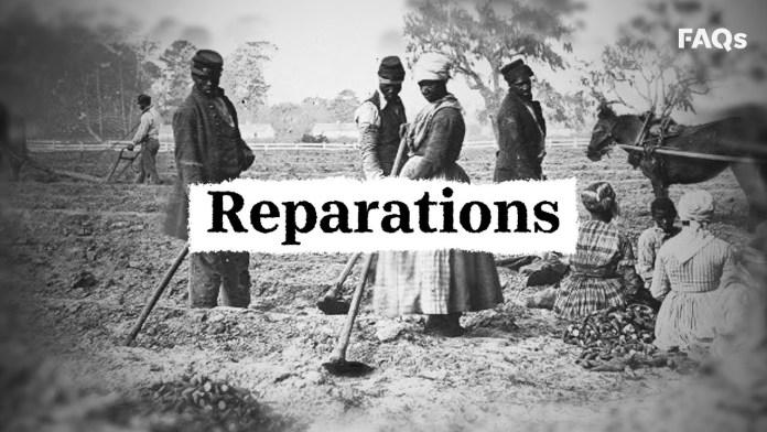 """A group of African Americans work in the forefront of the image while a group of African Americans sit. Overlaid on the image is the word """"Reparations"""" and on the righthand side is the watermark FAQs"""