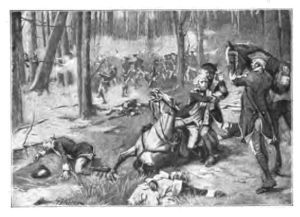 Illustration of battle of wabash with colonizers on horses falling to the ground