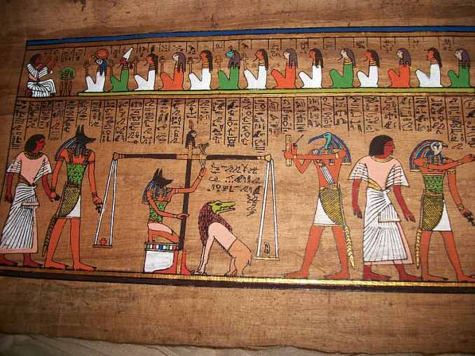 Hieroglyph of Anubis, god of death and Other Egyptian gods among people