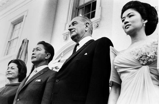 Photo of Ferdinand Marcos beside Lyndon Johnson