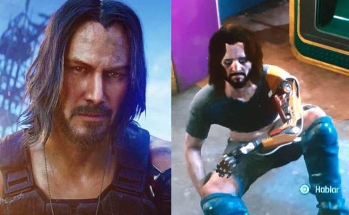 Side by side comparison of bugs in Cyberpunk 2077 game