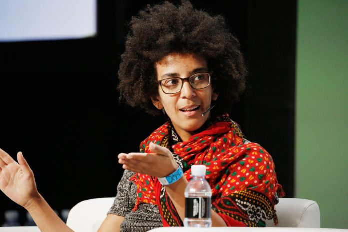 SAN FRANCISCO, CA - SEPTEMBER 07: Google AI Research Scientist Timnit Gebru speaks onstage during Day 3 of TechCrunch Disrupt SF 2018 at Moscone Center on September 7, 2018 in San Francisco, California. (Photo by Kimberly White/Getty Images for TechCrunch) *** Local Caption *** Timnit Gebru