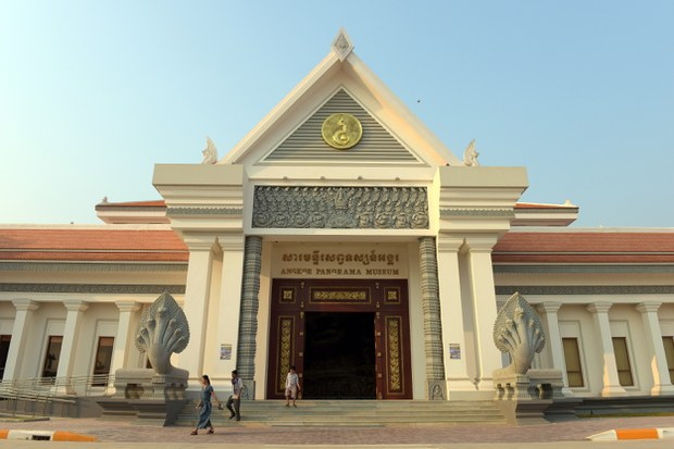 Cambodian people walk out of the North Korean-built Angkor Panorama Museum in Cambodia's Siem Reap province in a file photo.