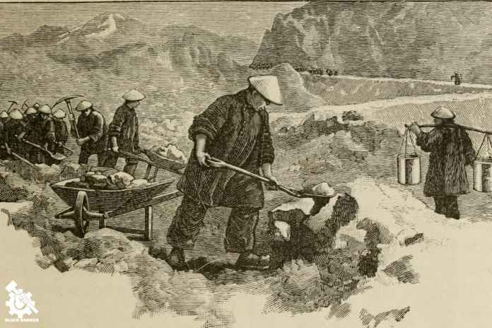 Chinese railway laborers in Northern Pacific (1897)