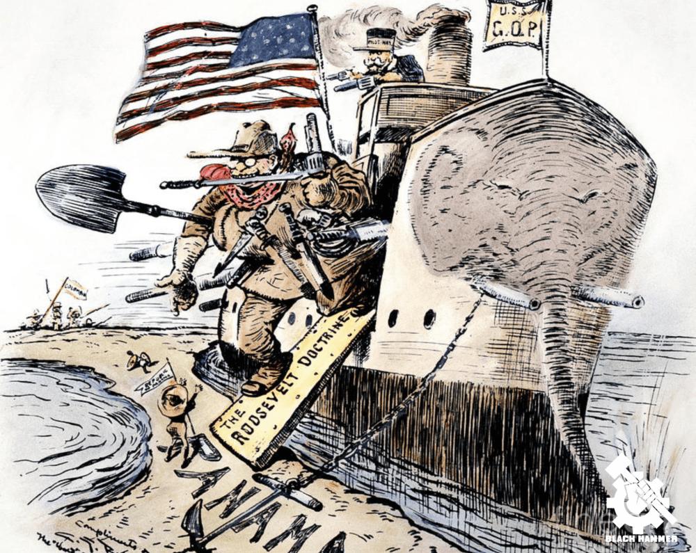Caricatura política de los serpientes unidos del norte quenes colonizaron Panamá en el 1904