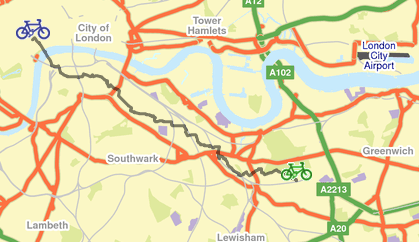 TfL cycle map from Blackheath to Covent Garden