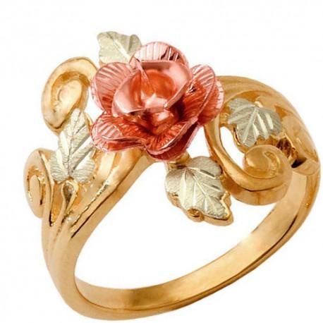 10k Black Hills Gold Ladies Ring With Rose