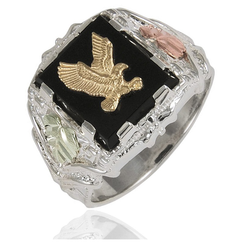 Black Hills Gold On Sterling Silver Mens Eagle Ring With