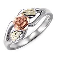 Landstrom's Black Hills Gold Sterling Silver Rose Ring ...