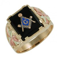 10K Black Hills Gold Masonic Ring for Men's ...