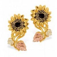 Stunning 10k Black Hills Gold Sunflower Earrings ...