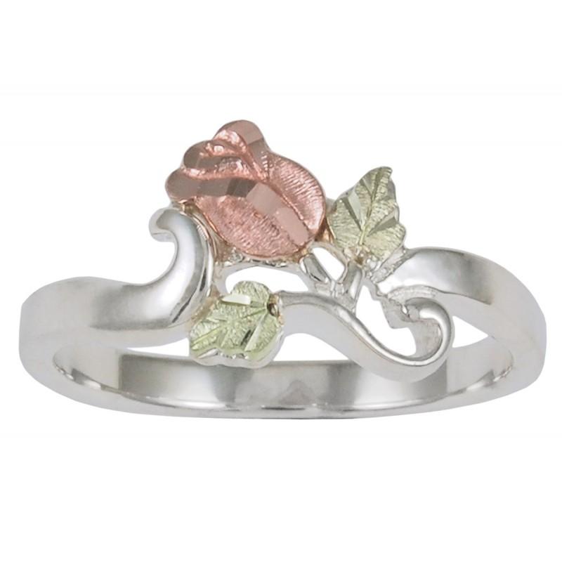 Black Hills Gold on Sterling Silver Rose Flower Ring