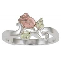 Black Hills Gold on Sterling Silver Rose Flower Ring ...