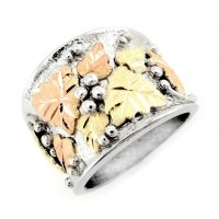 Landstroms 12K Black Hills Gold Leaves on Silver Mens