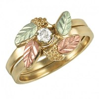 10K Black Hills Gold Diamond Bridal Set Ring Size 6 w/ 0 ...