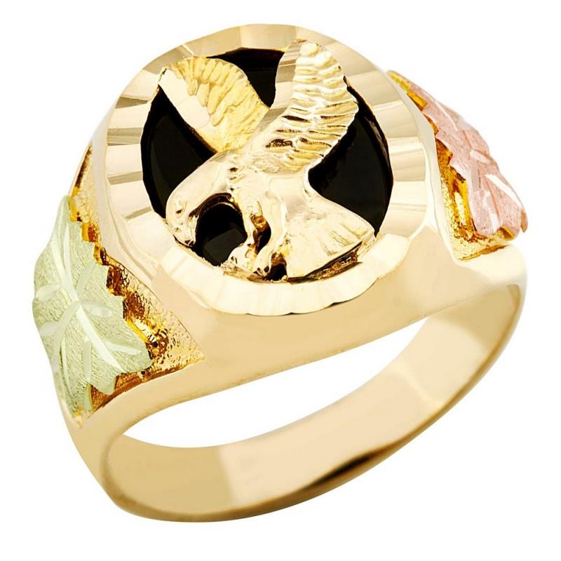 Landstrom's Mens Black Hills Gold 10K Eagle Ring with