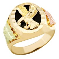 Landstrom's Mens Black Hills Gold 10K Eagle Ring with