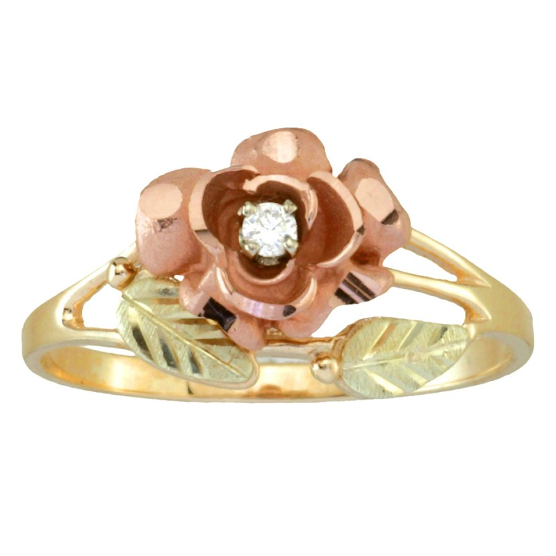 Coleman Black Hills Gold Diamond Rose Ring For Ladies Blackhillsgold Direct Klugex