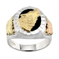 Landstroms Sterling Silver Men's Onyx Wolf Ring with