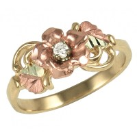 Tri color Black Hills Gold Diamond & Rose Ring