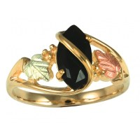 Black Hills Gold Ladies Ring with Marquise-shaped Black ...