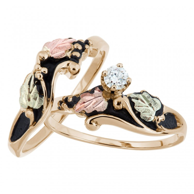 Antiqued Black Hills Gold Diamond Engagement Wedding Ring