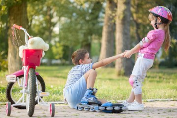 Girl and Boy Active Outside