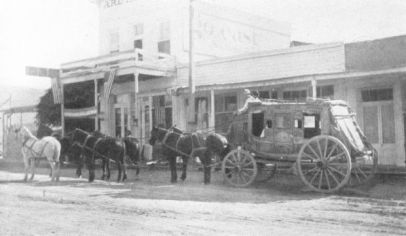 A stagecoach in the 1880s