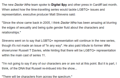LGBTQ_ Rep in S11 | Snippet from Digital Spy
