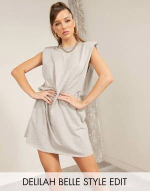 T-SHIRT MINI DRESS WITH PADDED SHOULDERS