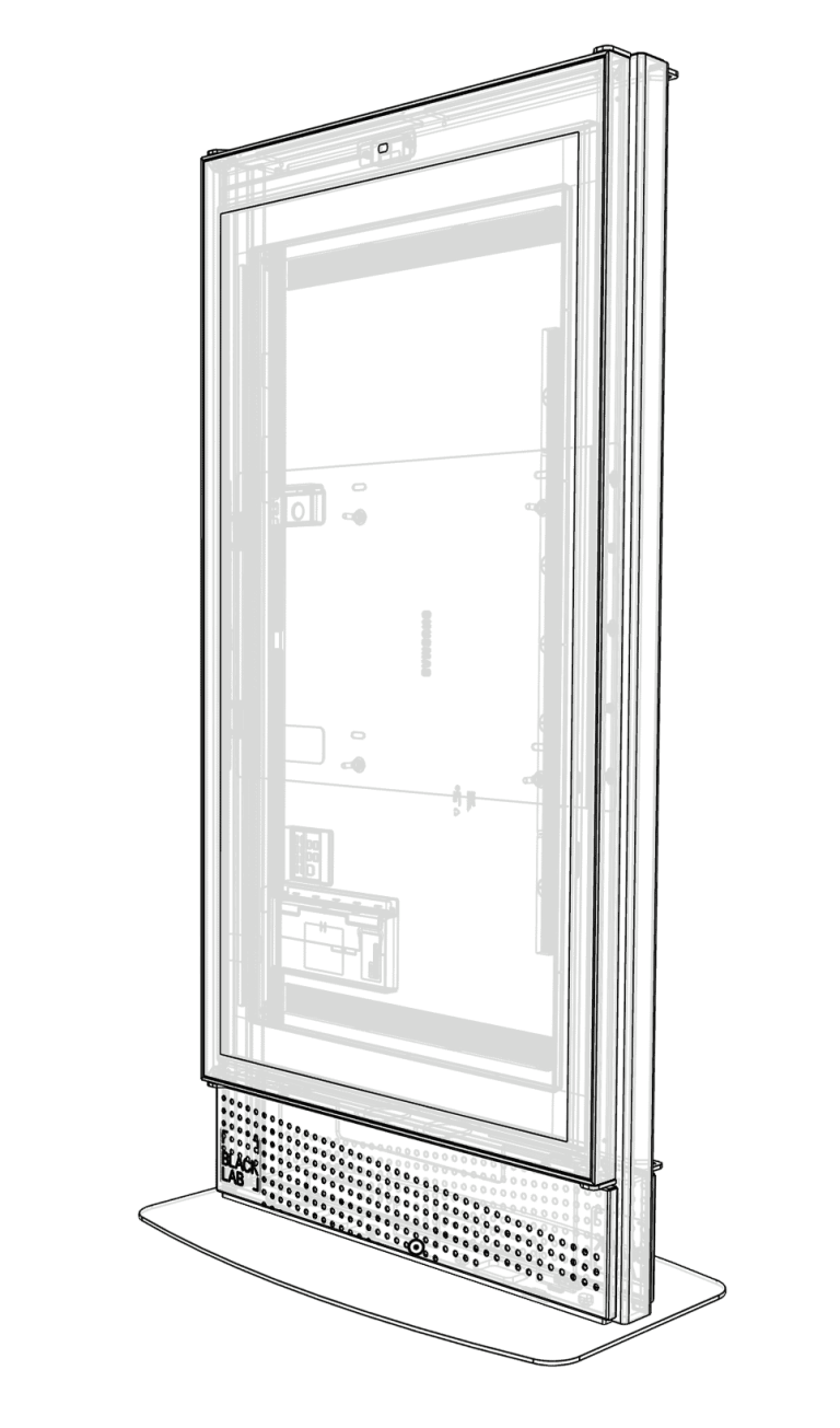 scale model drawing fo digital signage screen