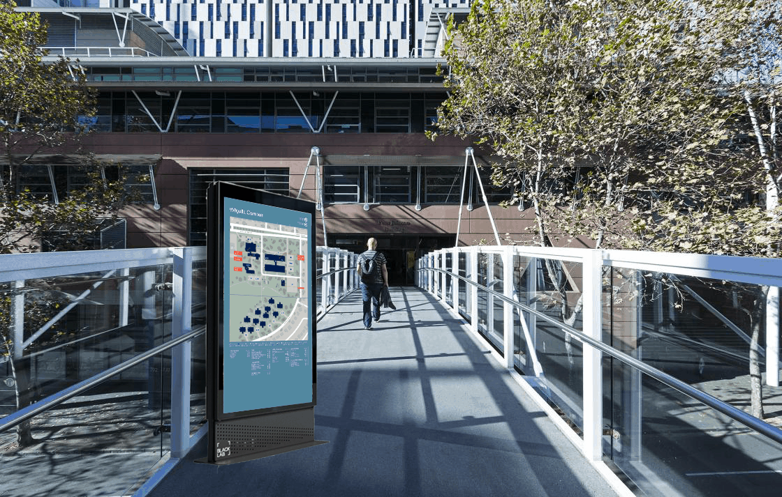 digital signage screen in use on university campus