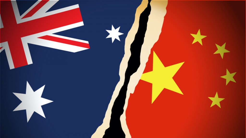 chinese and australian flag side by side