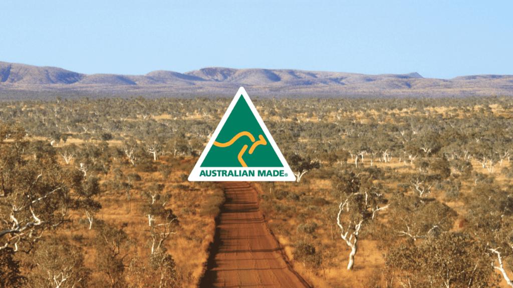 australian made logo on bush background