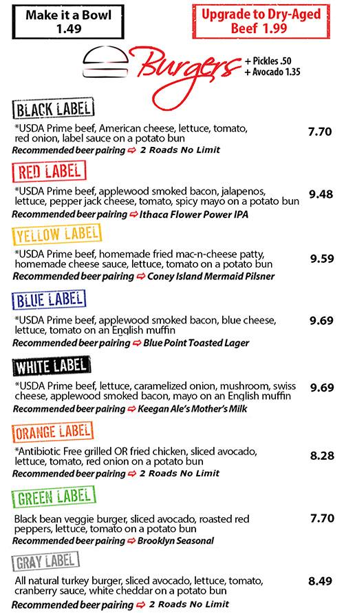 Black Label Burger Menu : black, label, burger, Black, Label, Burgers