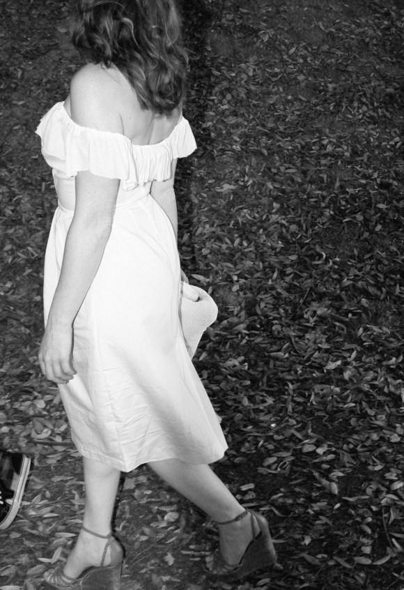 Side Back View Off the Shoulder Midi Wedding dress